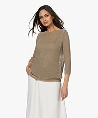 Kyra & Ko Lolo Open-knit Sweater - Khaki