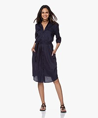 Woman By Earn Tes Linen Blend Shirt Dress - Navy