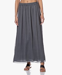 by-bar Pleun Chiffon Print Maxi Rok - Smoke Blue