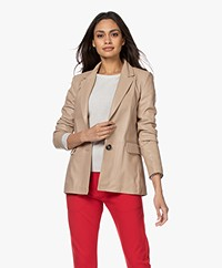 Repeat Luxury Leren Blazer - Nougat