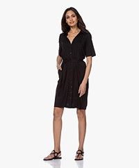 LaSalle Lyocell Jersey Shirt Dress - Black