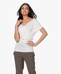 By Malene Birger Nimes V-neck Ribbed T-Shirt - Soft White