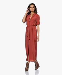 Denham Roxanne Cupro Blend Maxi Shirt Dress - Red Ochre