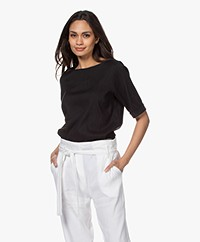 Woman by Earn Kiki Linen Blend Short Sleeve Blouse - Black