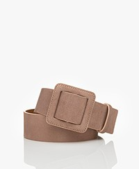 ba&sh Betty Wide Suede Belt - Dust Pink