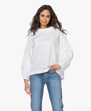 LaSalle Poplin Balloon Sleeve Blouse - White