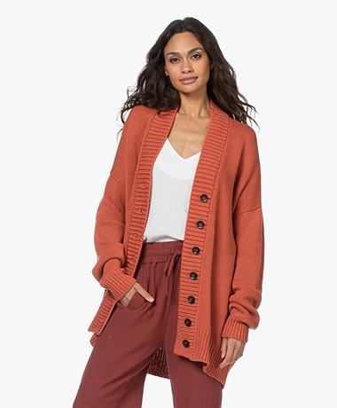 I Love Mr Mittens Chunky Cotton V-neck Cardigan - Apricot Brandy