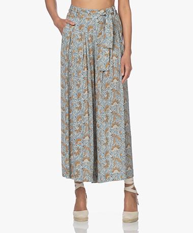 by-bar Wanda Oceano Printed Wide Leg Pants - Smoke Blue