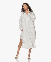 Resort Finest Ella Striped Linen Blend Shirt Dress - Warm Sand