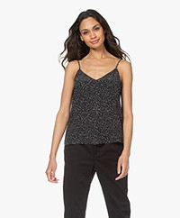 Equipment Layla Printed Silk Camisole - True Black/Off-white