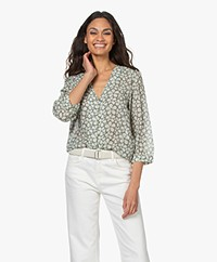 indi & cold Floral Printed Voile Blouse - Agua