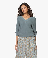 by-bar June Cotton Rib V-neck Sweater - Smoke Blue