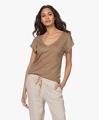 by-bar Mila Linen V-neck T-shirt - Sepia