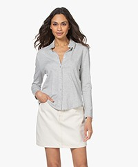 Majestic Filatures Soft Touch Jersey Blouse - Light Grey Melange