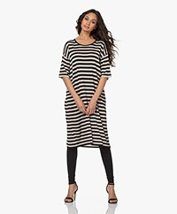 Sibin/Linnebjerg Lia Striped Knitted Dress - Black/Sand