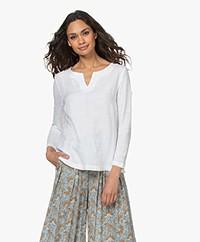 Belluna Lucy Linen Mixed Media Long Sleeve - White