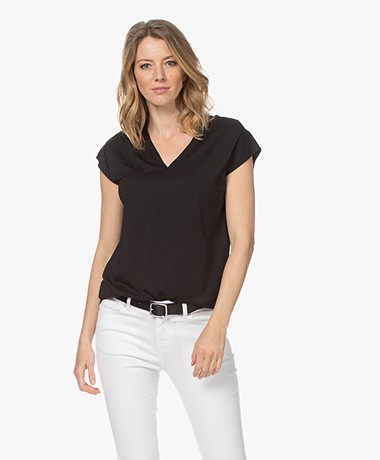 Repeat V-neck T-shirt in Lyocell and Cotton - Black