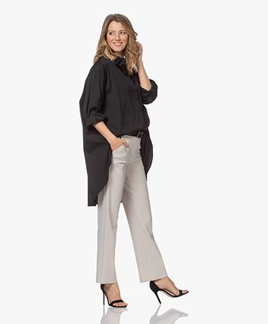 Woman by Earn Miep Poplin Stretch Shirt - Black