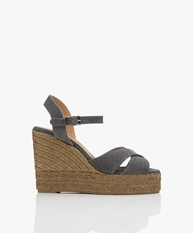 Castaner Blaudell 10,5cm Canvas Espadrille Wedge Sandals - Charcoal
