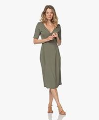 Majestic Filatures Soft Touch Jersey Wrap Dress - Khaki