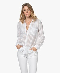 Rails Charli Sheer Striped Blouse - White Shadow