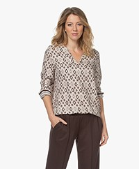 HANRO Favourites Boho Print Lounge Blouse - Off-white/Brown/Beige