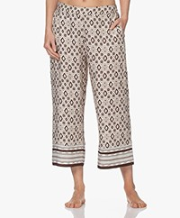 HANRO Favourites Cropped Printed Lounge Pants - Off-white/Beige/Brown