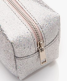 &Klevering Glitter Make-up Tas - Zilver