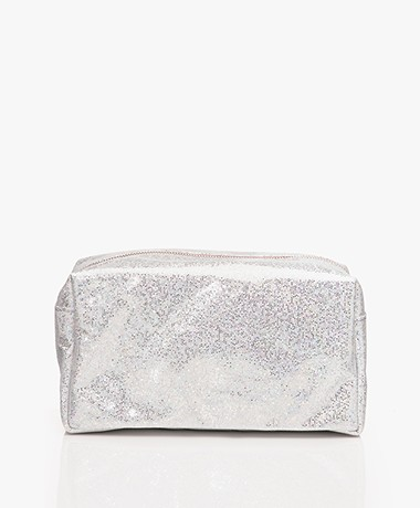 &Klevering Glitter Toiletry Bag - Silver