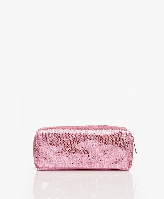 &Klevering Glitter Make-up Tas - Roze