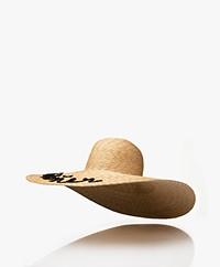 Castaner Pamela Raffia Logo Hat - Natural/Black