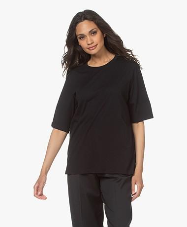 Filippa K Clara Ronde Hals T-shirt - Zwart