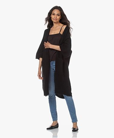 American Vintage East Cardigan with Cropped Sleeves - Black