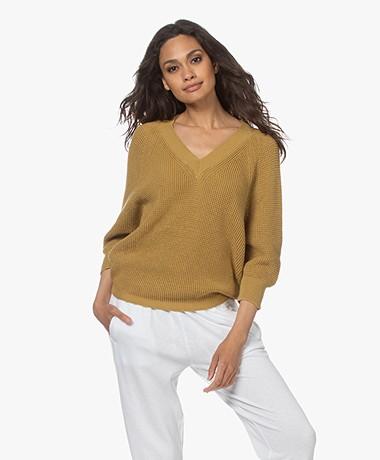 by-bar June Cotton Rib V-neck Sweater - Ginger
