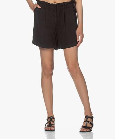 Rails Monty Linen Blend Paperbag Shorts - Black