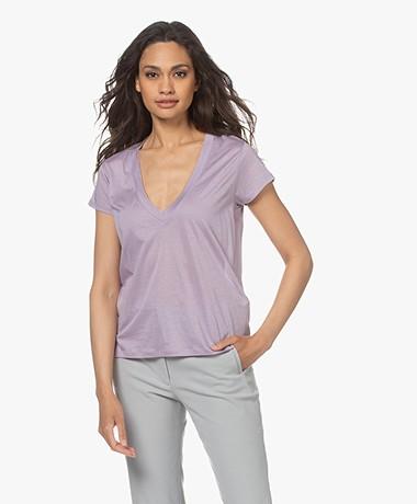 IRO Sharone Katoenen V-hals T-shirt - Glycine