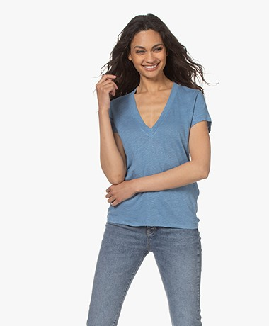 IRO Rodeo Linnen V-hals T-shirt - Vintage Blue