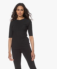 Woman by Earn Lise Tech Jersey Elbow Sleeve T-shirt - Black