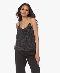 Equipment Layla Zijden Print Camisole - Zwart/Off-white