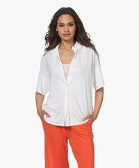 Majestic Filatures Linen Jersey Polo Shirt - White