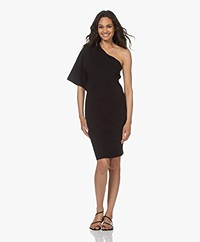 bassike Batwing One Shoulder Jersey Dress - Black