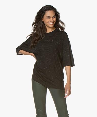 IRO Limony Striped Viscose Blend T-shirt - Black