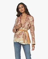 forte_forte Jacquard Wrap Blazer with Leather Tie Belt - Cameo
