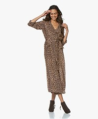 Mes Demoiselles Sting Pantherprint Midi Dress/Trenchcoat - Brown
