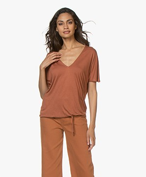 by-bar Donna Drawstring T-shirt - Terracotta