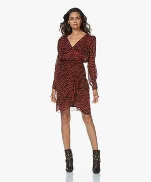 ba&sh Saphir Viscose Chiffon Printed Dress - Pourpre