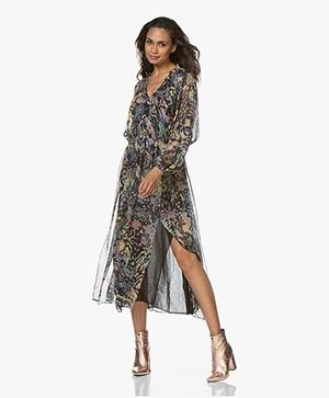 IRO Ramona Printed Chiffon Maxi Dress - Black