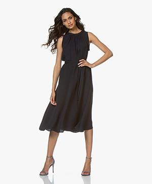 Joseph Grace Crepe Silk Midi Dress - Navy