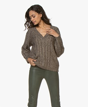 Mes Demoiselles Callister Lurex Cable Sweater - Brown
