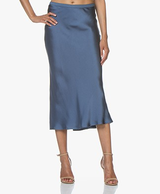 ANINE BING Bar Silk Skirt - Dusty Blue